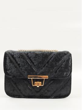Βελούδινη τσάντα με αλυσίδα