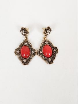 Σκουλαρίκια με κόκκινη πέτρα