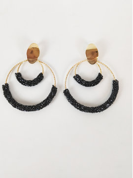 Σκουλαρίκια κρίκοι με μαύρα ζιργκόν